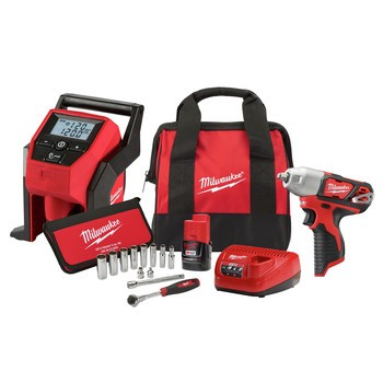 Milwaukee 2463-21RS M12 Lithium-Ion 3/8 in. Cordless Impact Wrench with M12 Inflator and 12-Piece 3/8 in. Metric Socket Set