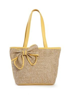 Straw Tote with Bow