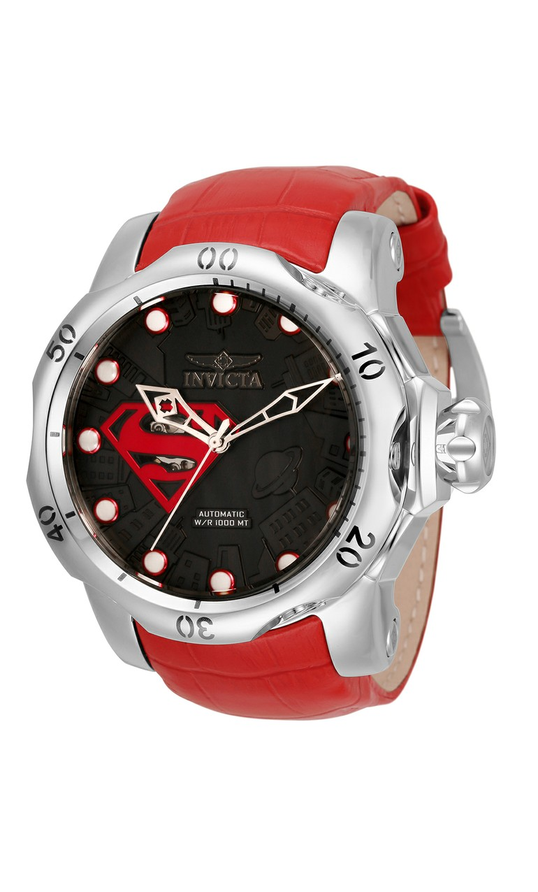 Invicta DC Comics Superman Automatic Mens Watch - 53.7mm Stainless Steel Case, Leather Band, Red (33817)