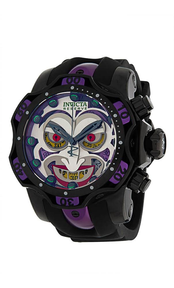 Invicta DC Comics Joker Quartz Mens Watch - 52.5mm Stainless Steel/Aluminum Case, SS/Silicone/Aluminium Band, Black, Purple (33813)