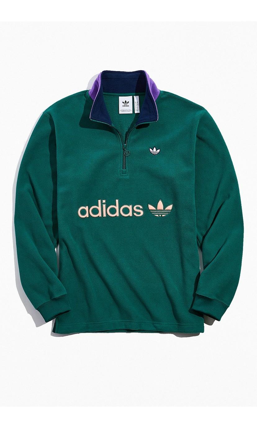 adidas Colorblock Mock Neck Half-Zip Sweatshirt